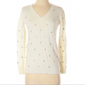 J. Crew Factory Silver Polka Dot Sweater